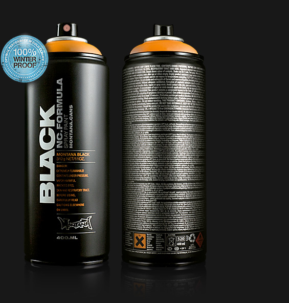 Montana black spray paint in 102 matte colors Black spray paint