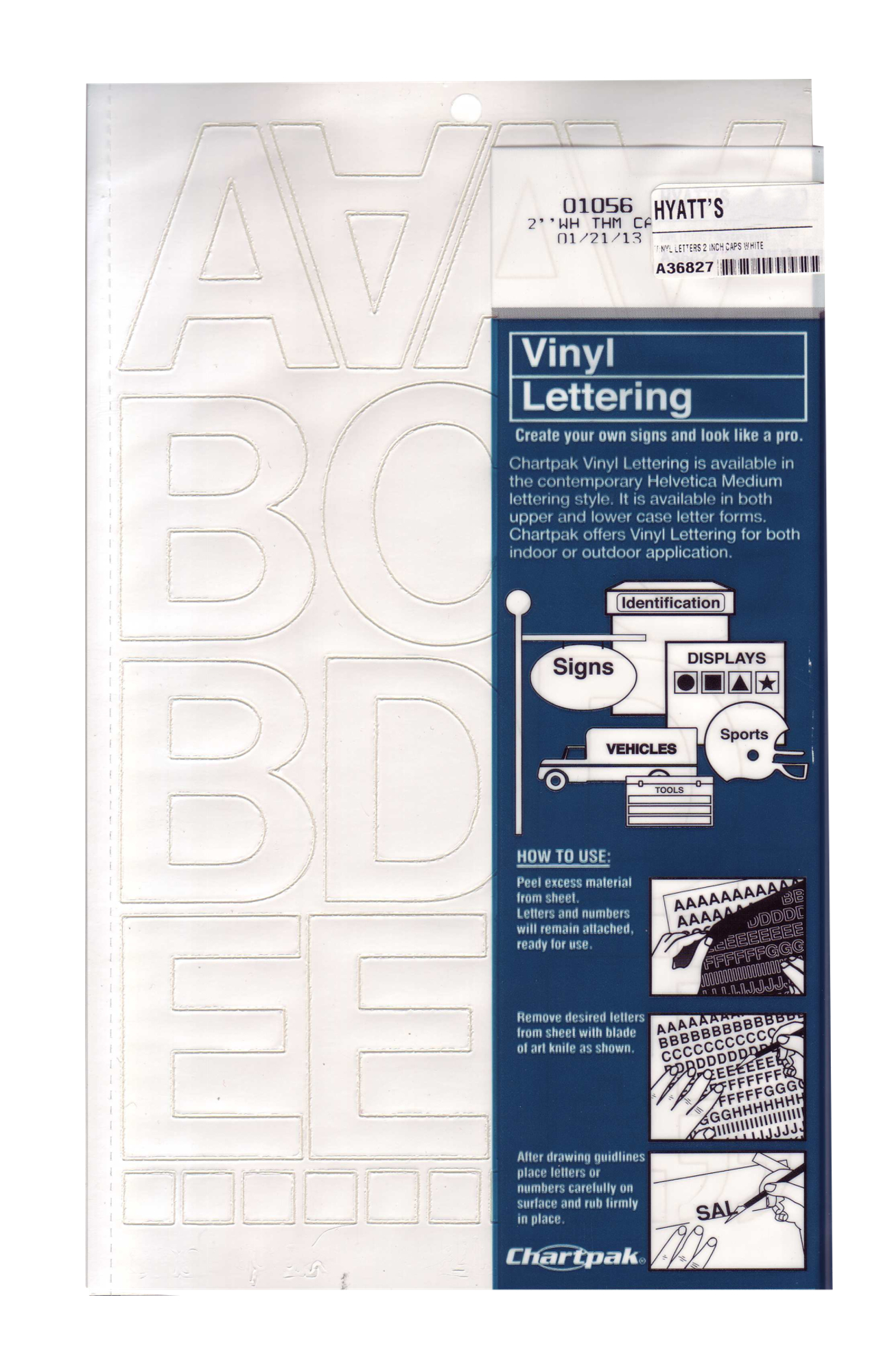Vinyl 2 inch Capital Letters White