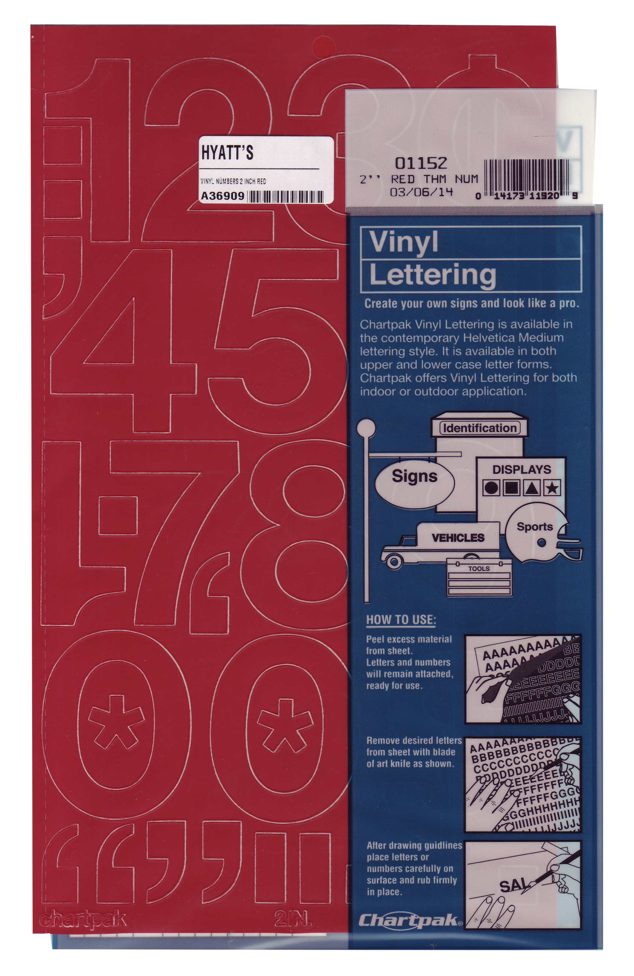 Vinyl 2 inch Numbers Red