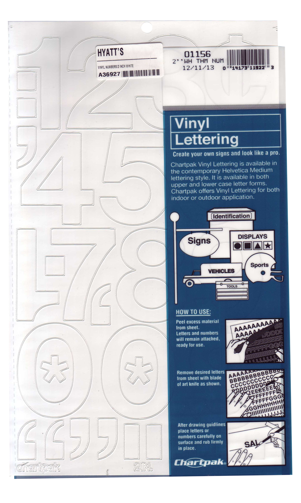 Vinyl Numbers 2 Inch White