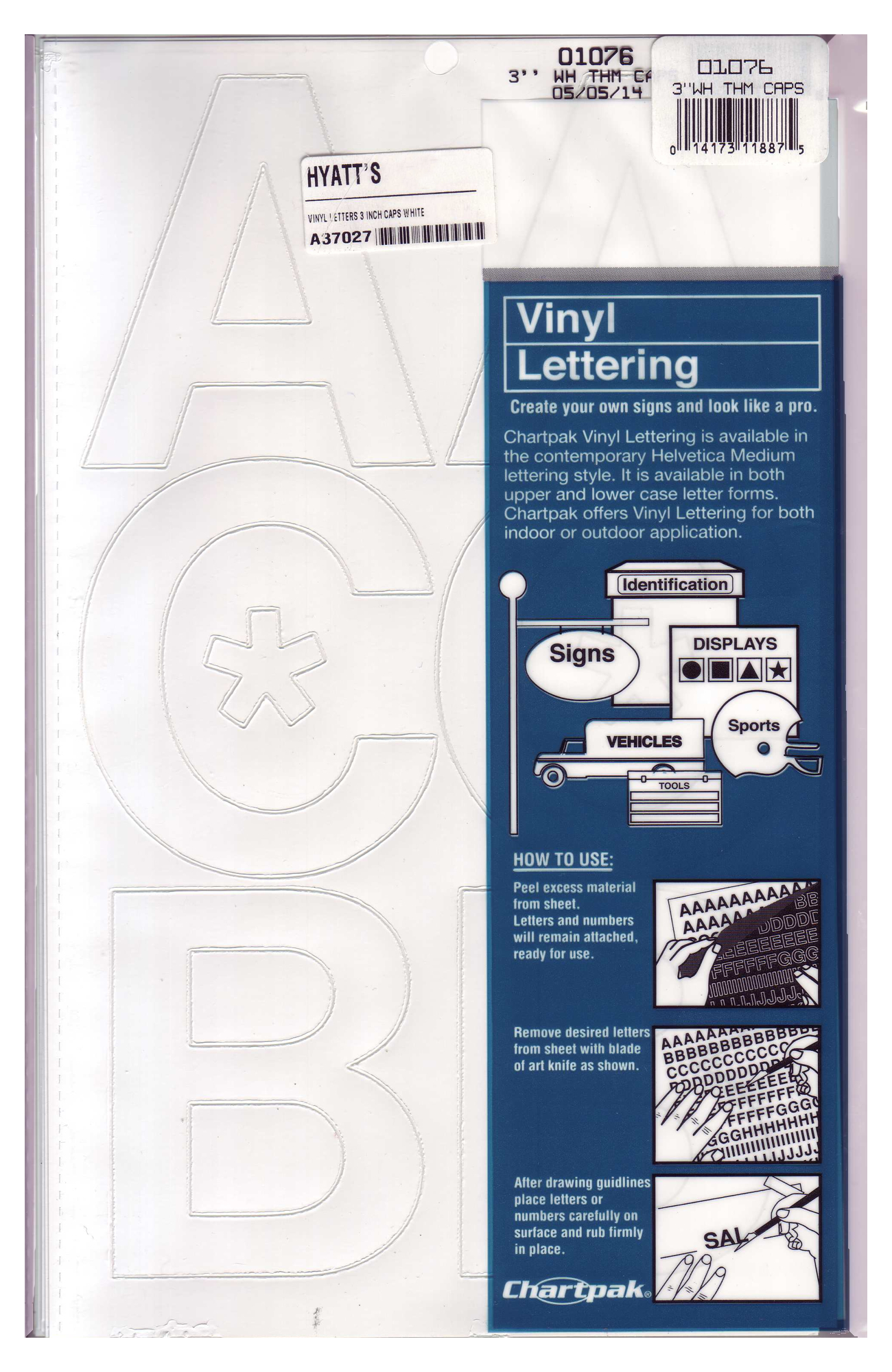 Vinyl 3 inch Capital Letters White