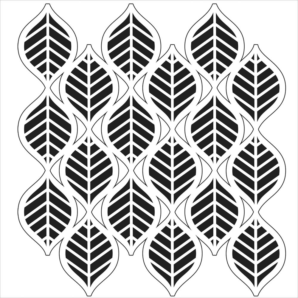 Stencil 6X6 Art Deco Leaves