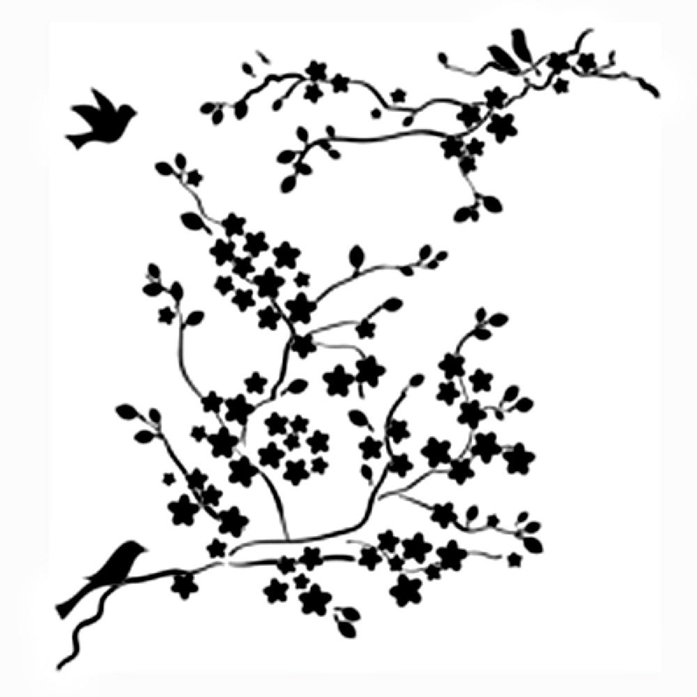 Buy stencil 12x12 cherry blossom