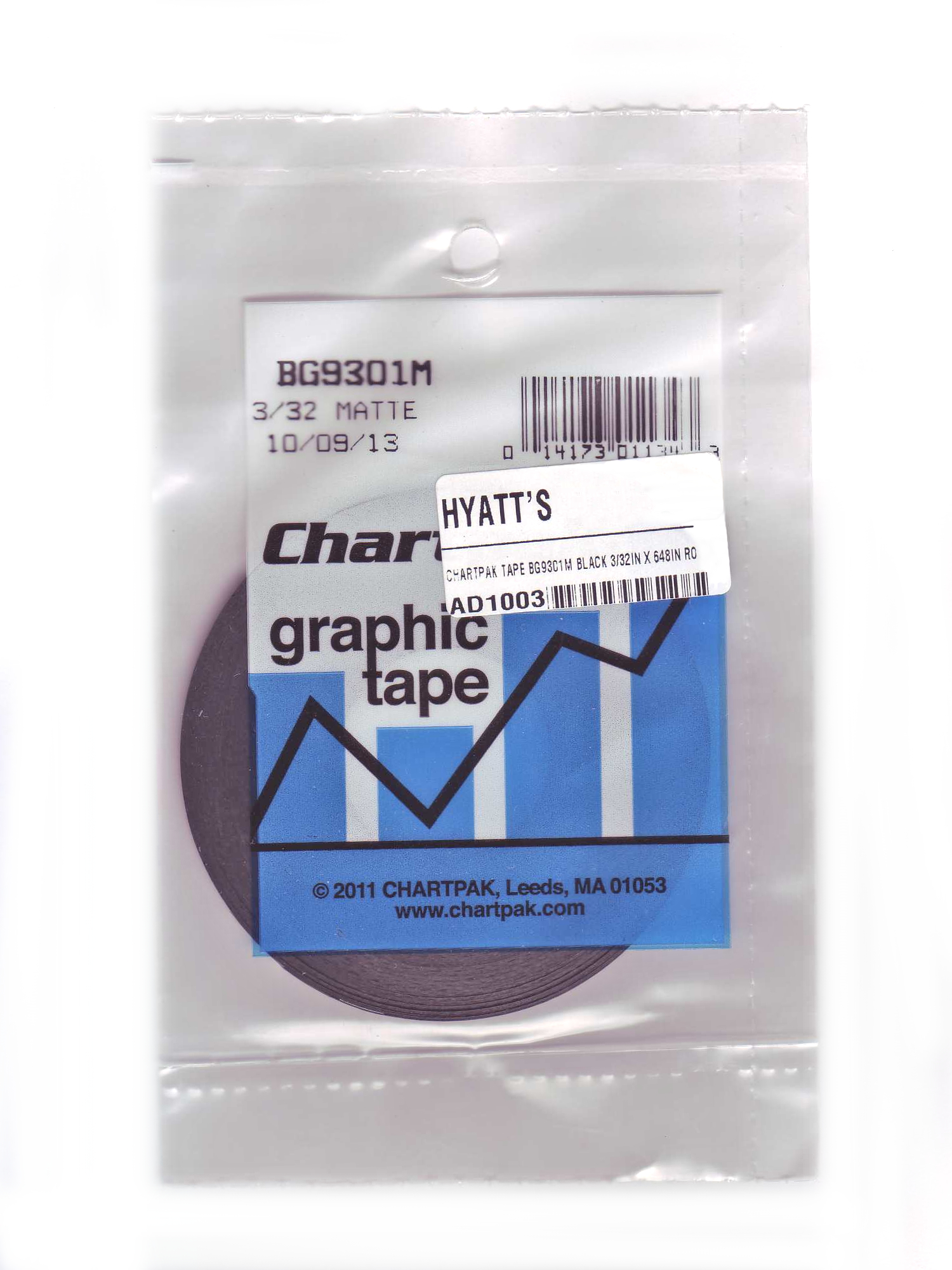 Chartpak Tape BG9301M Black 3/32in x 54yd Rol
