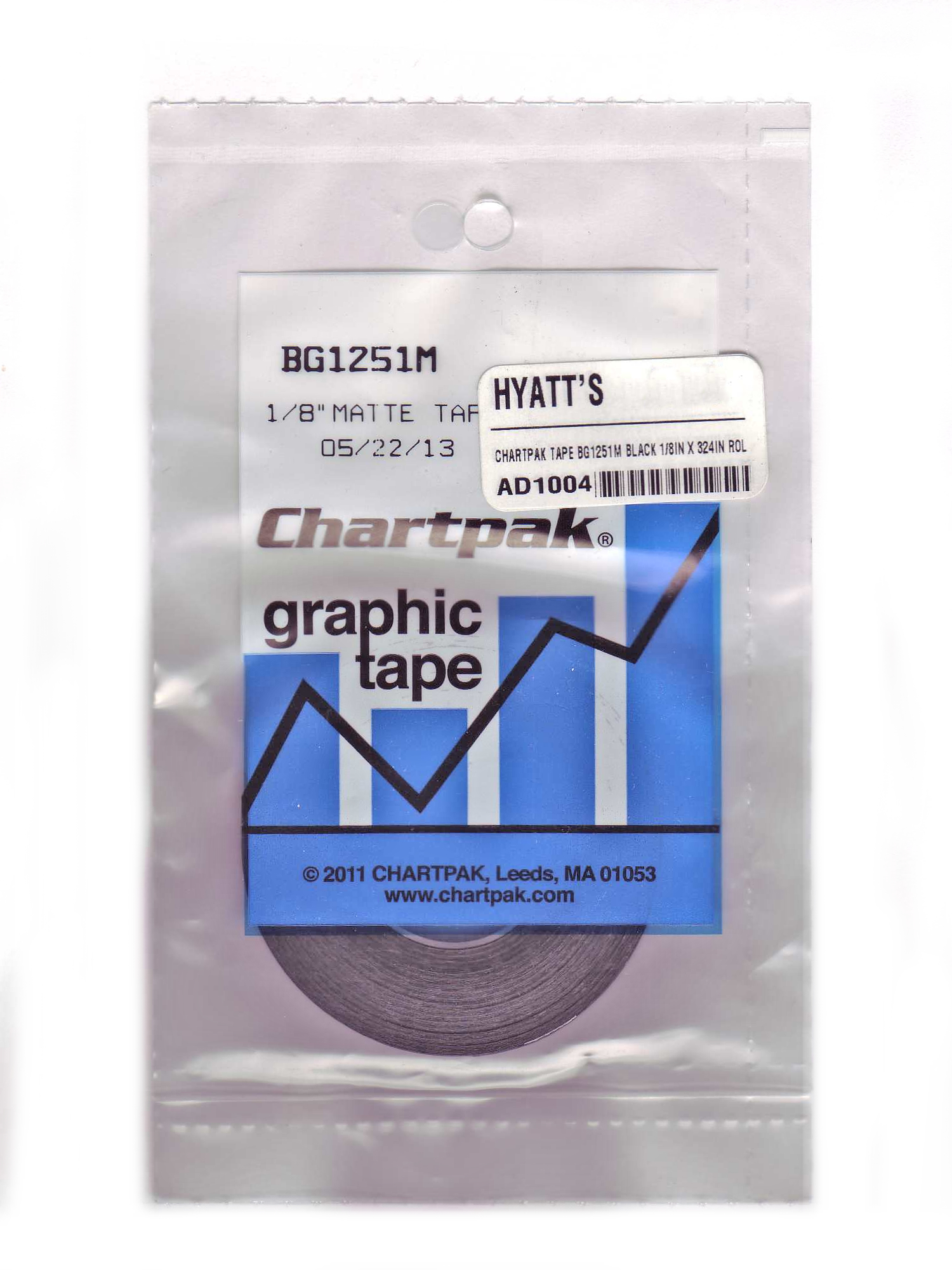 Chartpak Tape Bg1251M Black 1/8In X 324In Rol