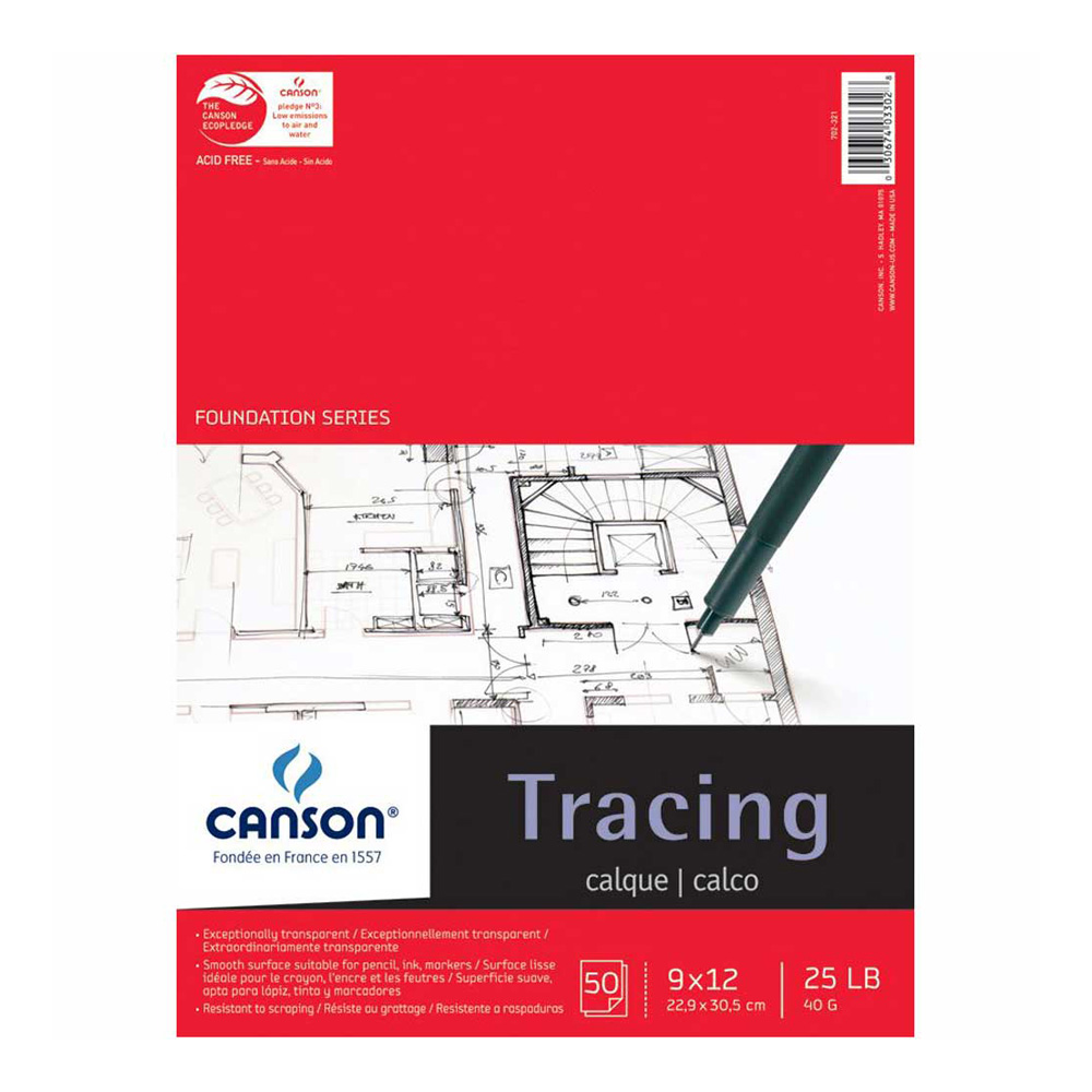 Canson Tracing Pad 50 Sheets 9X12 Inch