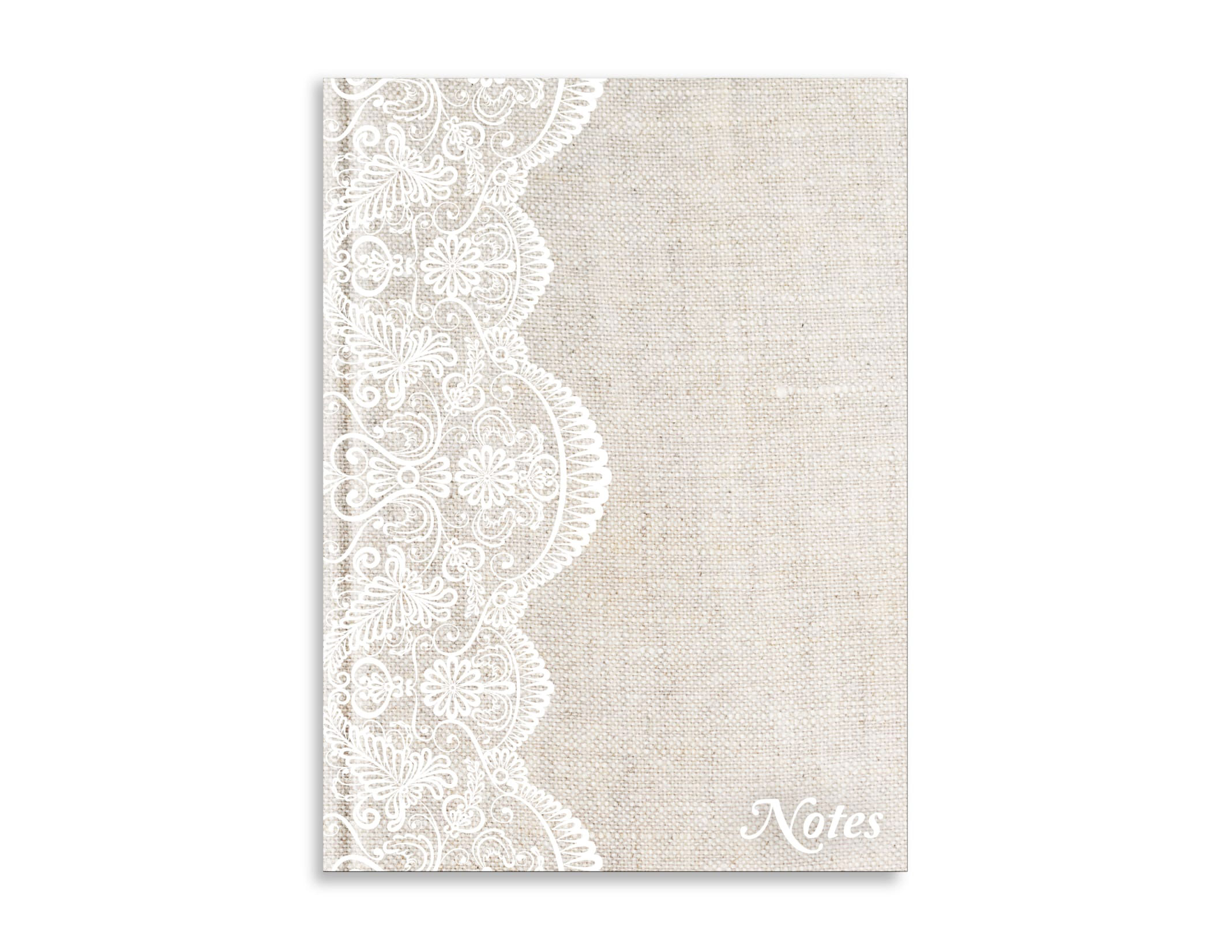 Belvedere Beige Lace Linen Notebook 7X9.5 In