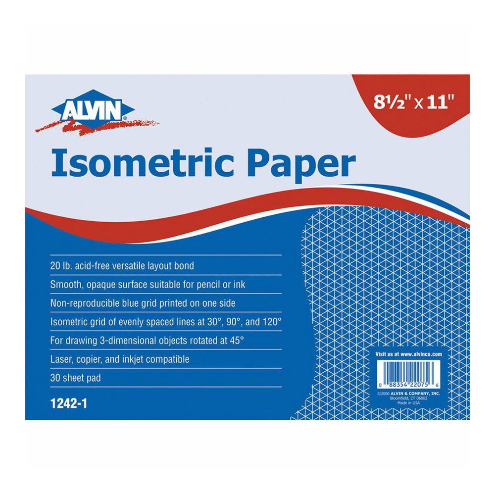 Alvin Isometric Paper 500 Sheet Pack 8.5X11In