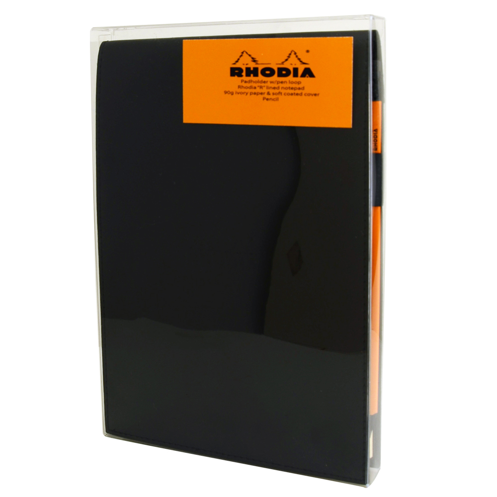 Rhodia Black Notepad Gift Set 6X8.75 Lined