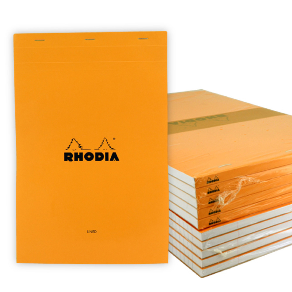 Rhodia Classic Orng Ntpd 8.25X12.5 Lined 10Pk