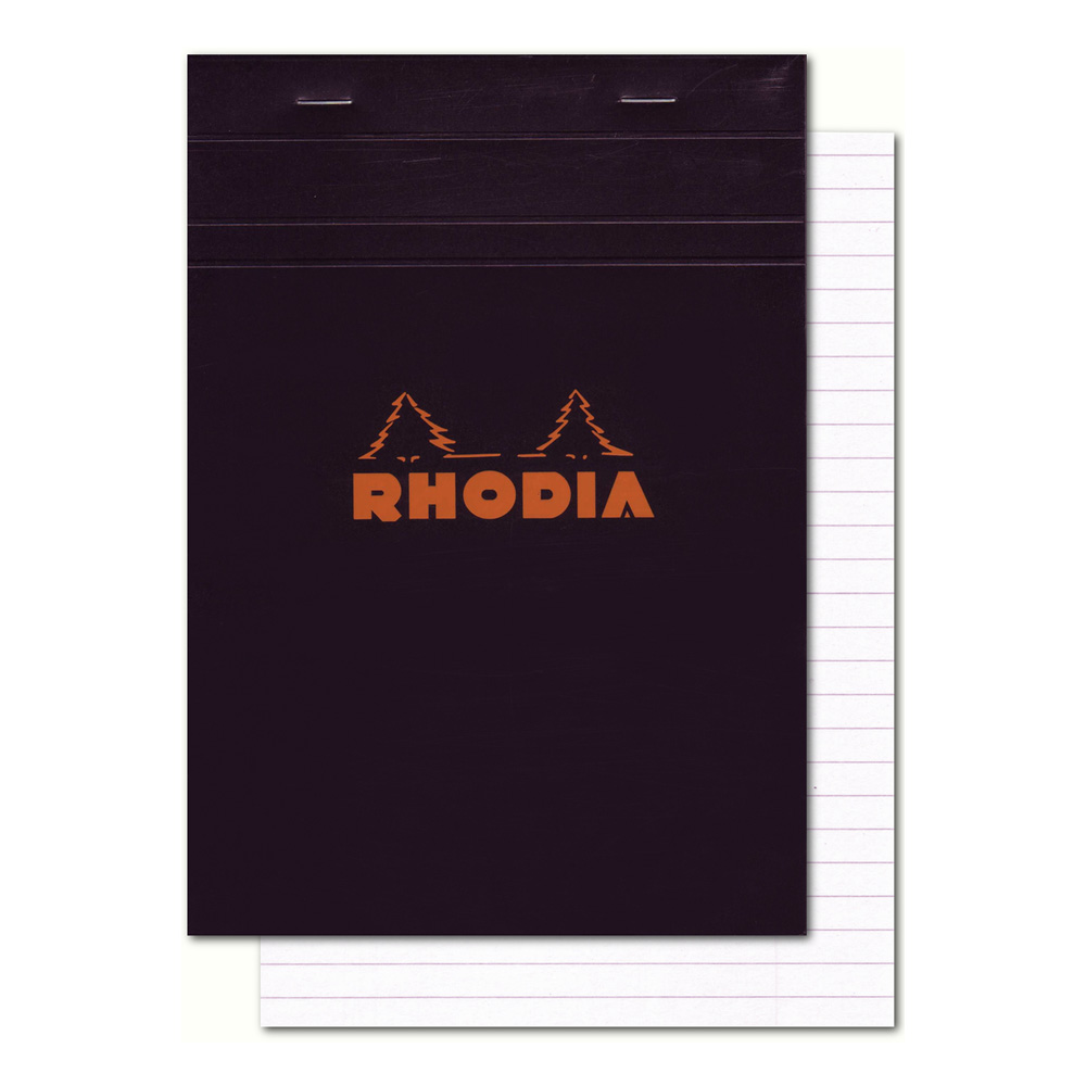 Rhodia Classic Black Notepad 4.38X6.38 Lined