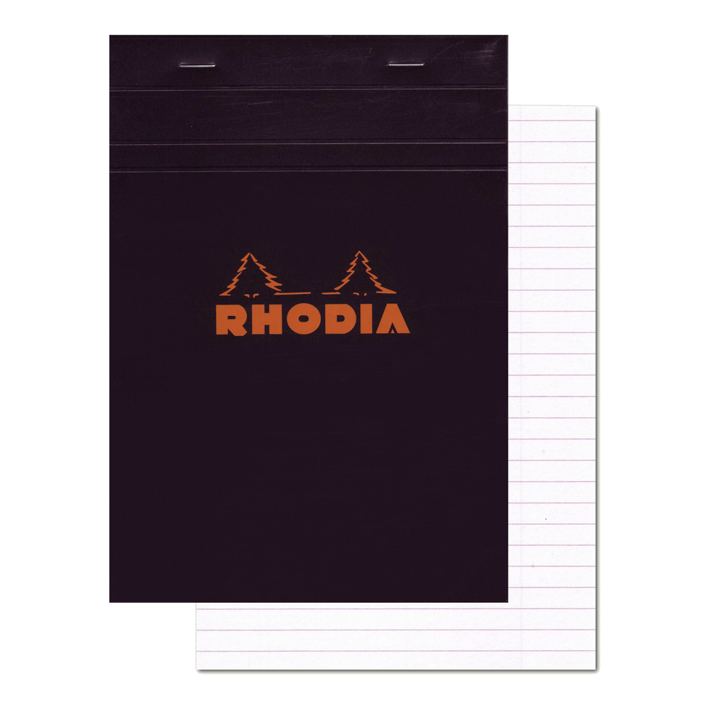 Rhodia Classic Black Notepad 6X8.25 Lined Wm
