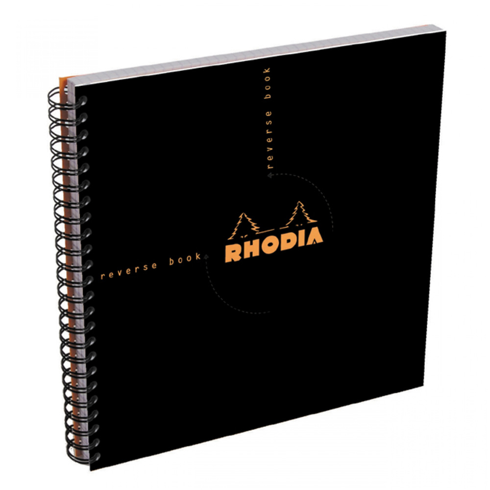 Rhodia Wirebound Reverse Book 8.25X8.25 Black