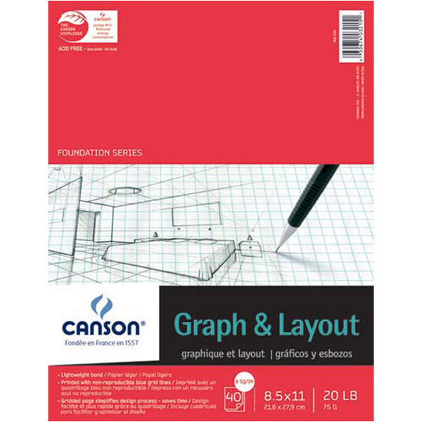 Canson Crossection Pad 40 Shts 8.5X11 8Sq