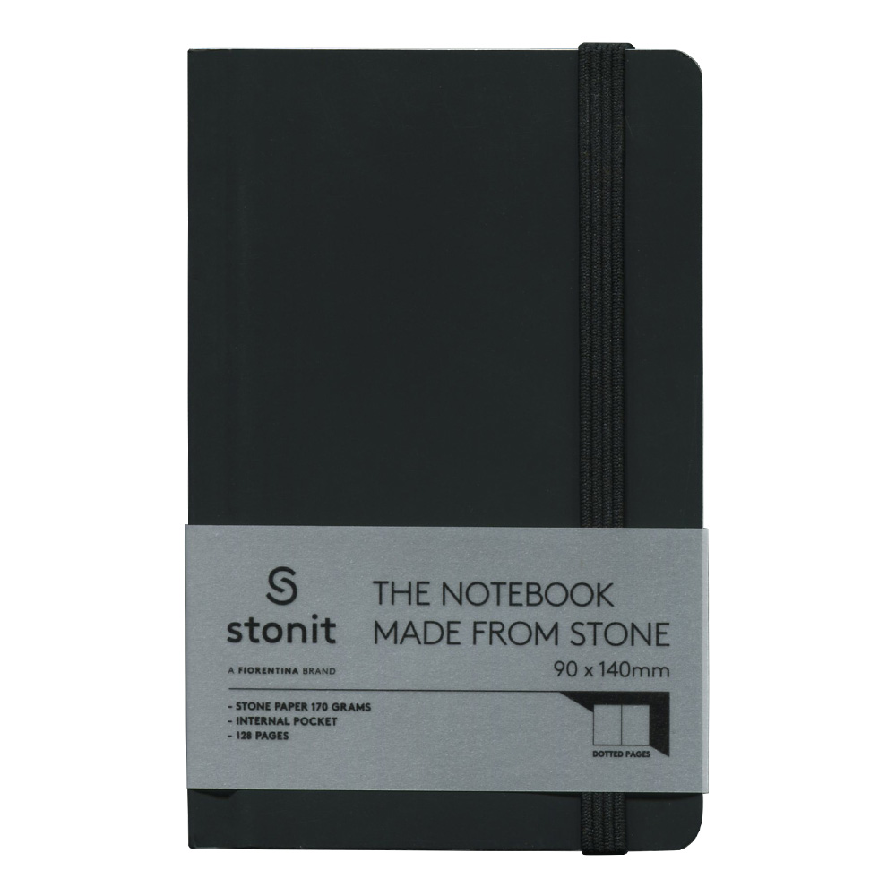 Stonit Hard Cover Dot Notebook - Black 3.5x5.