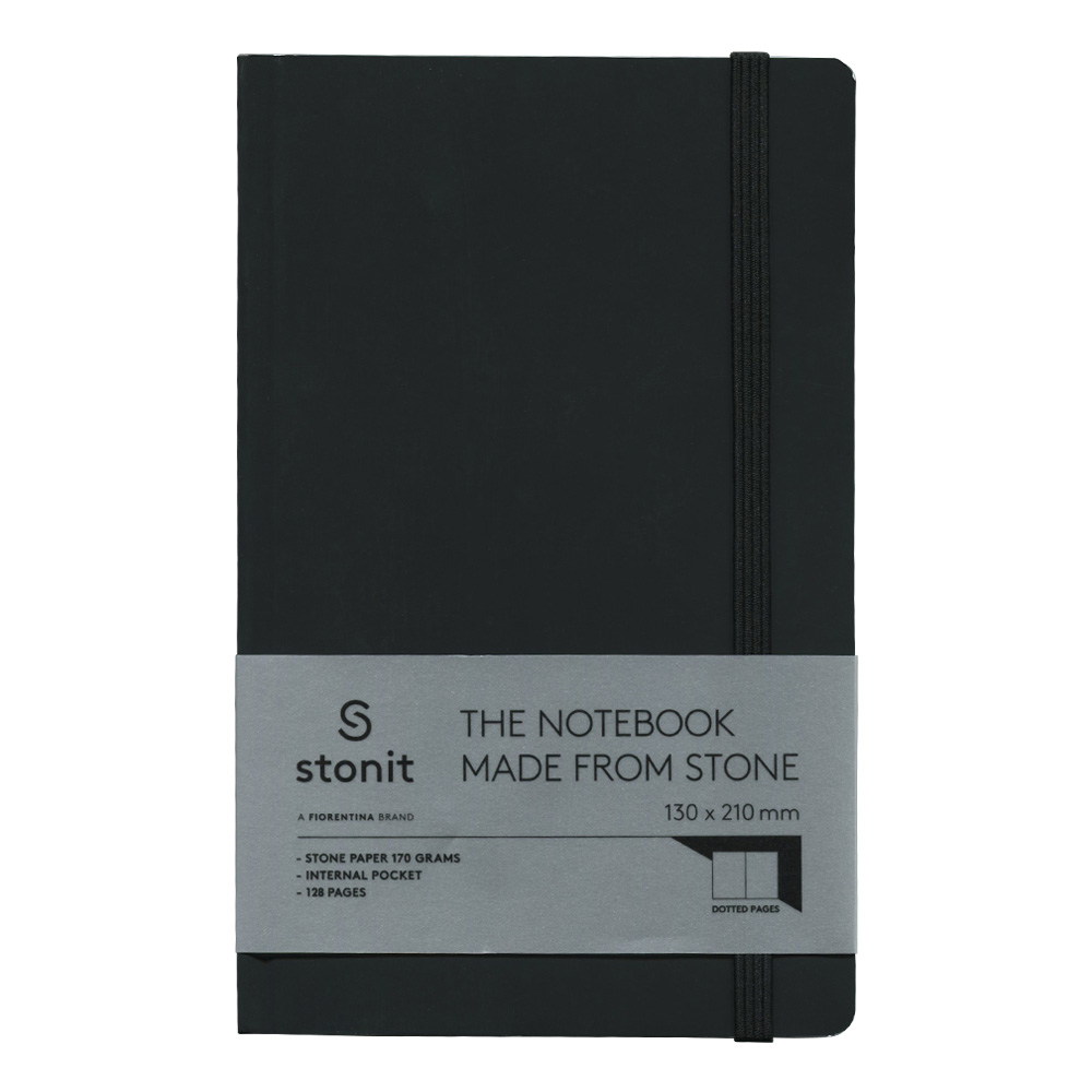 Stonit Hard Cover Dot Notebook Black 5x8