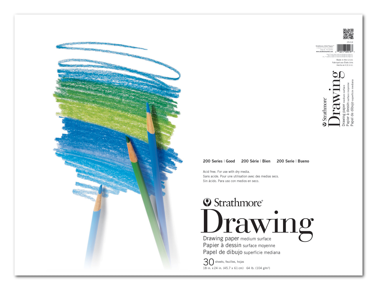 Strathmore 200 Taped Drawing Pad 18X24