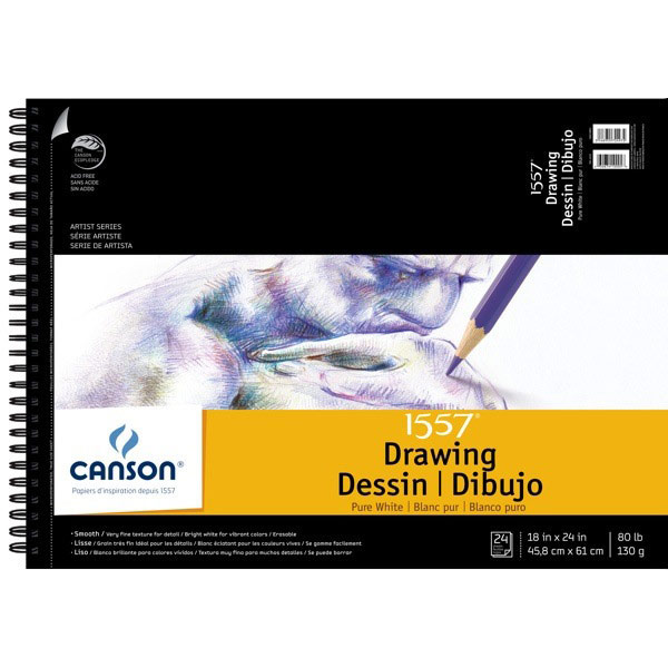 Canson Pure White Drawing Pad 18X24