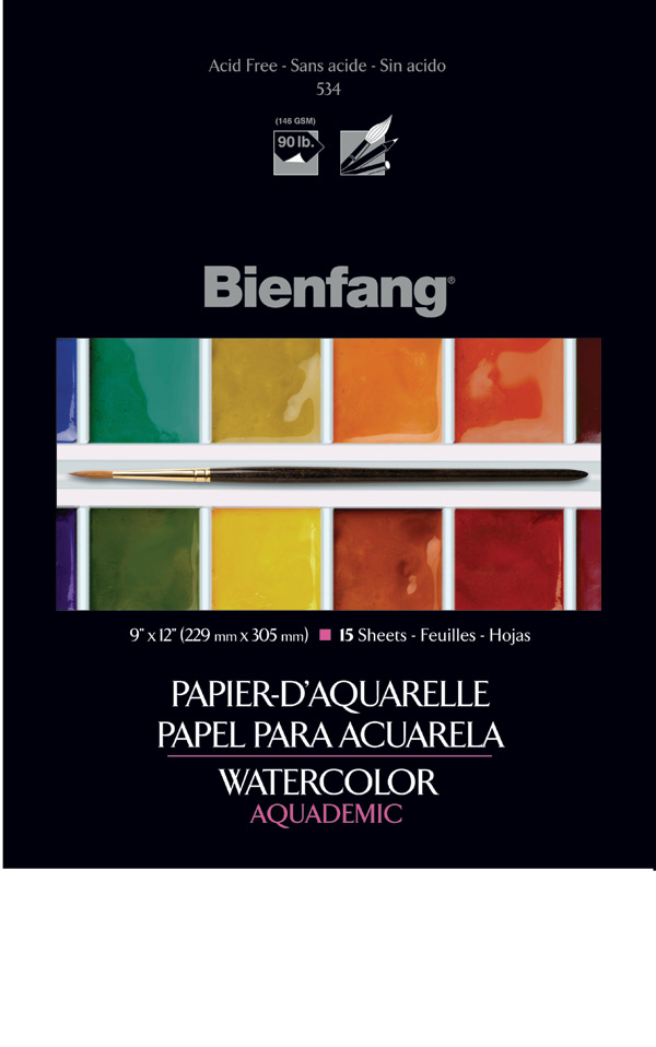 Bienfang Watercolor Pad 9X12 15 Sheets 90Lb