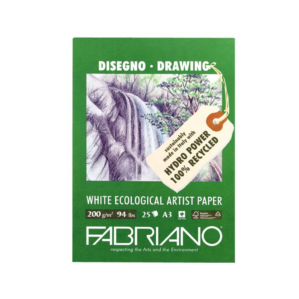 Fabriano Ecowhite Drawing Pad 11.7X16.5 Inche