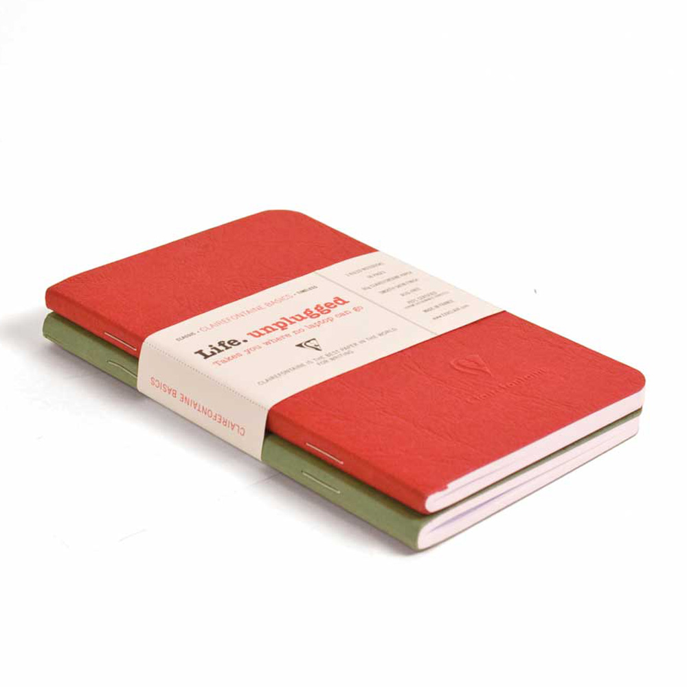 Clairefontaine Sb Duo Red/Green 3.5X5.5 Ruled
