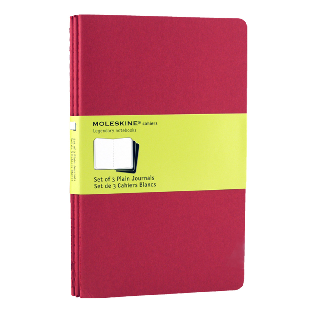Moleskine Large Cahier Plain Red Set/3
