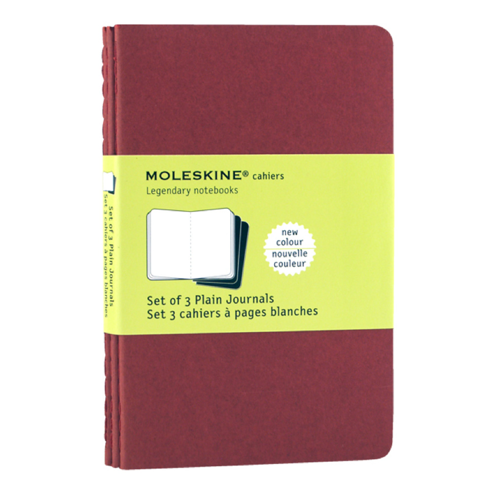 Moleskine Pocket Cahier Plain Red Set/3