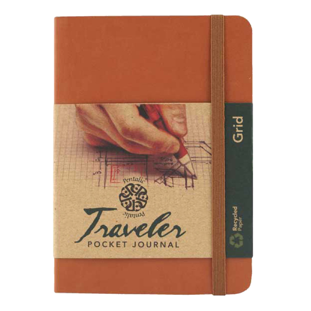 Travelers Pocket Journal Grid 4X6 Brown