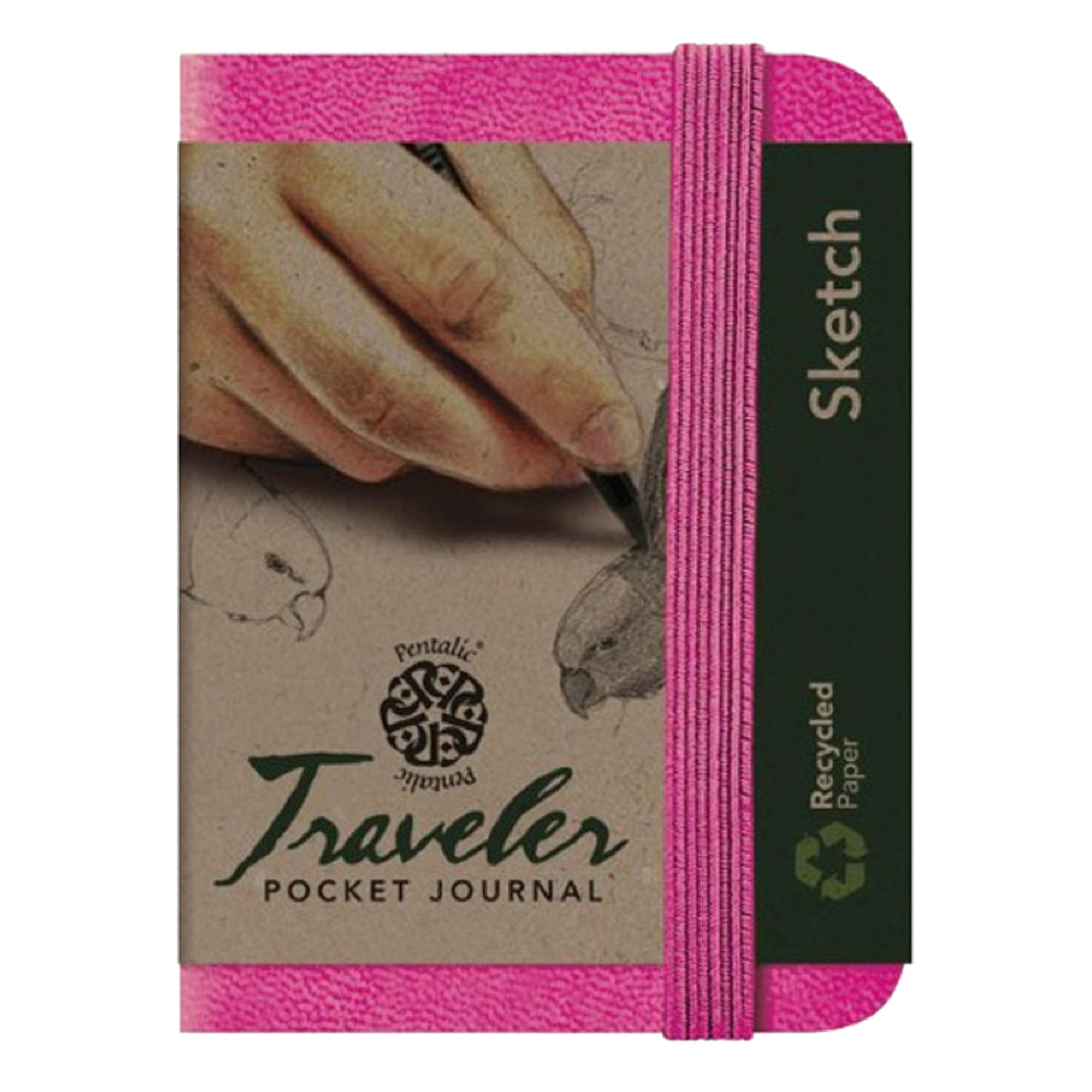 Travelers Pocket Journal 4X3 Bright Pink