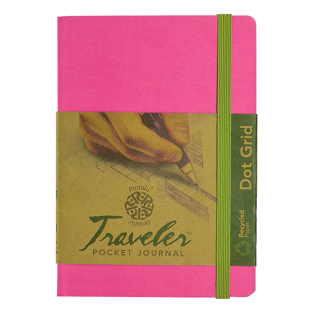Travelers Dot Grid Journal 6X4 Bright Pink
