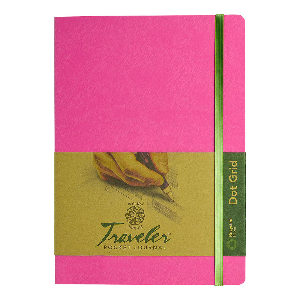 Travelers Dot Grid Journal 8X6 Bright Pink
