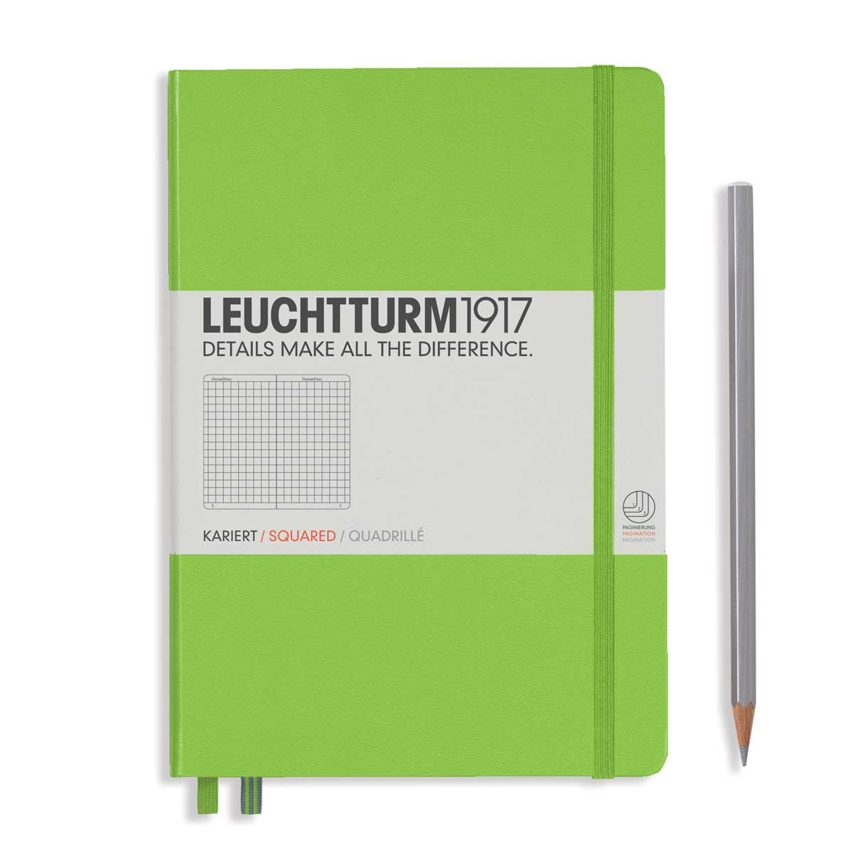 Leuchtturm Medium Hardcover Squared Lime