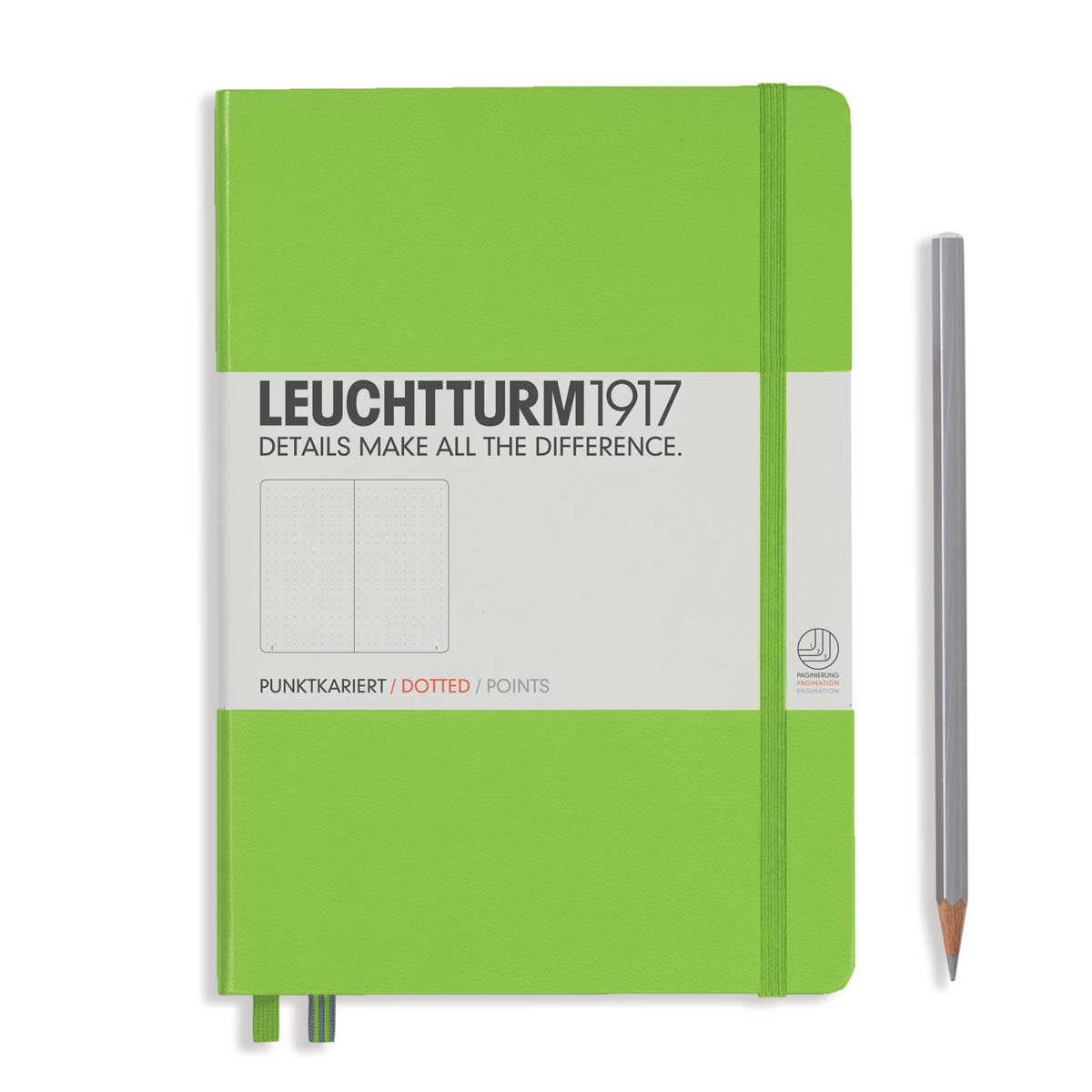 Leuchtturm Medium Hardcover Dots Lime