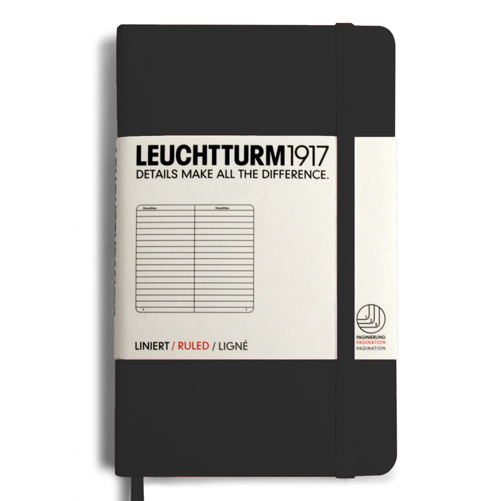 Leuchtturm Pocket Hardcover Lined Black