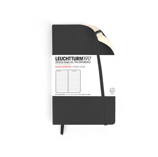 Leuchtturm Pocket Soft Cover Lined Black