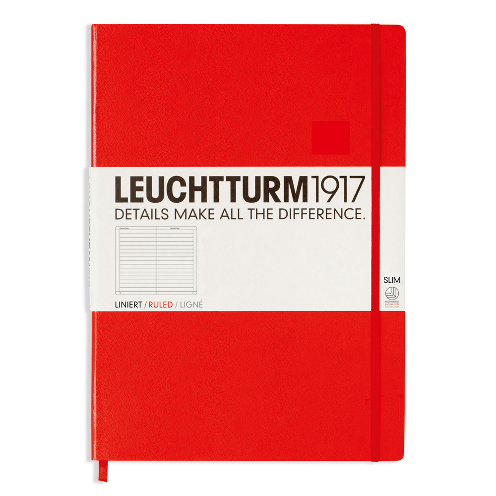 Leuchtturm Slim Master Hardcover Ruled Red