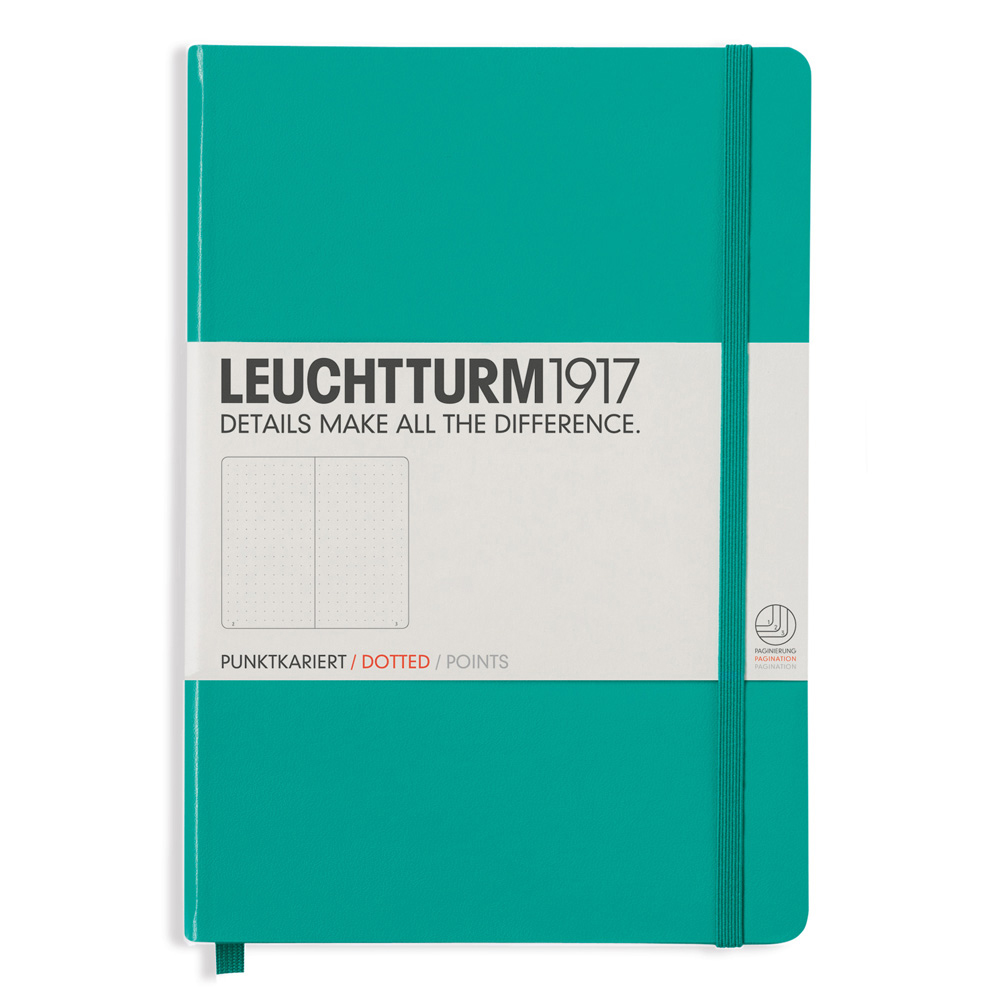 Leuchtturm Medium Hardcover Dots Emerald
