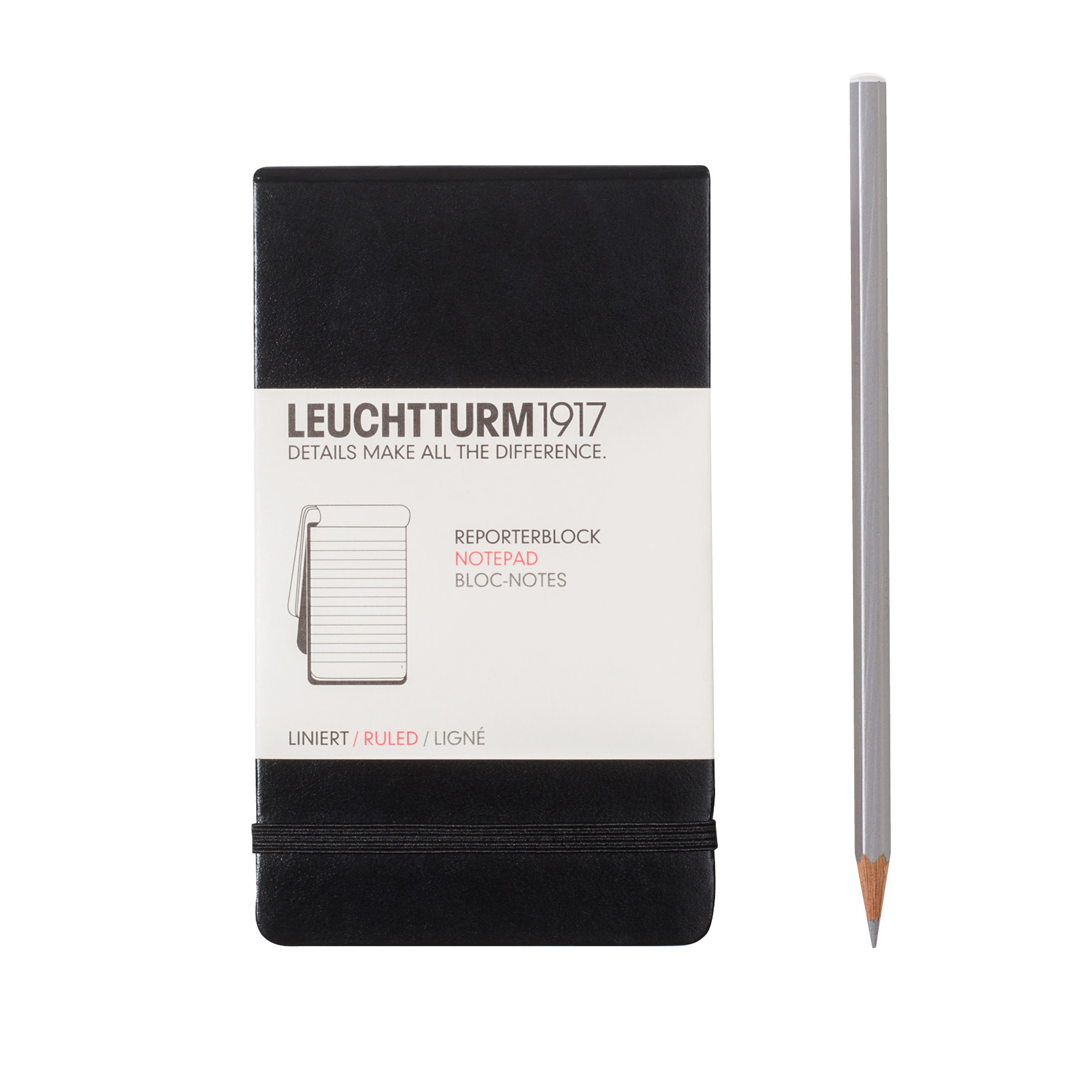 Leuchtturm Pocket Reporter Notepad Lined Blk