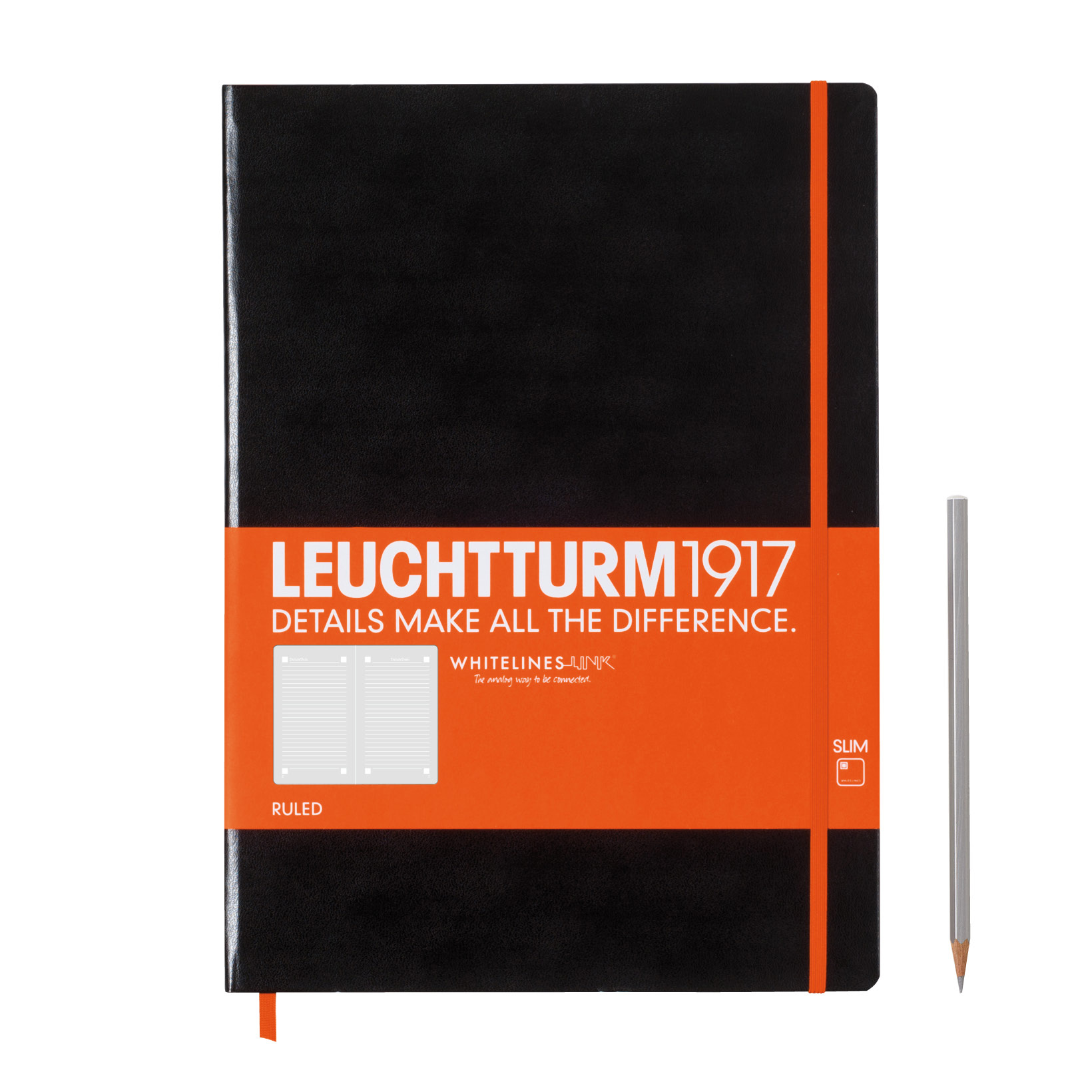 Leuchtturm Whitelines Master Slim Ruled Blk