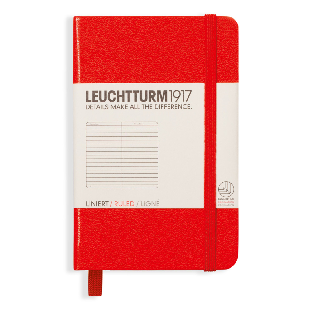 Leuchtturm Mini Hardcover Ruled Red
