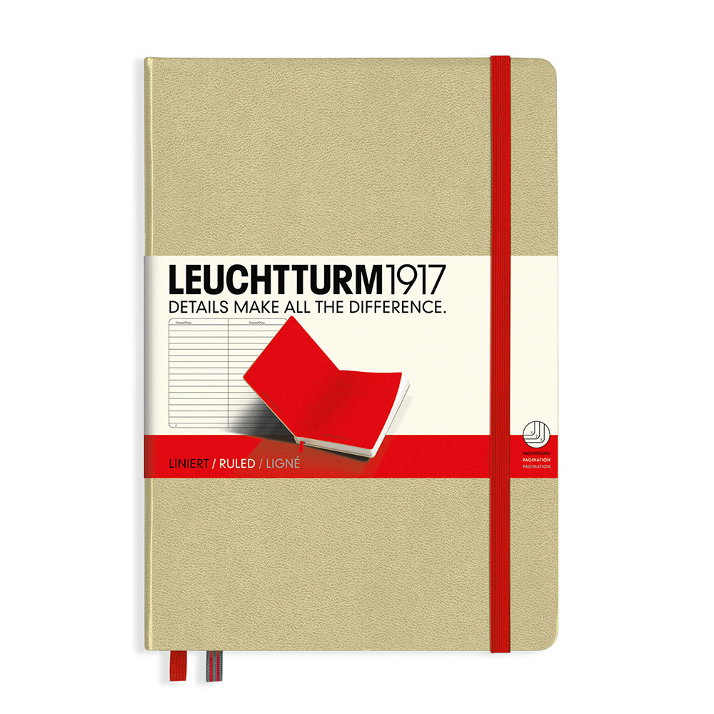 Leuchtturm Biocolore Notebook Sand/Red Ruled