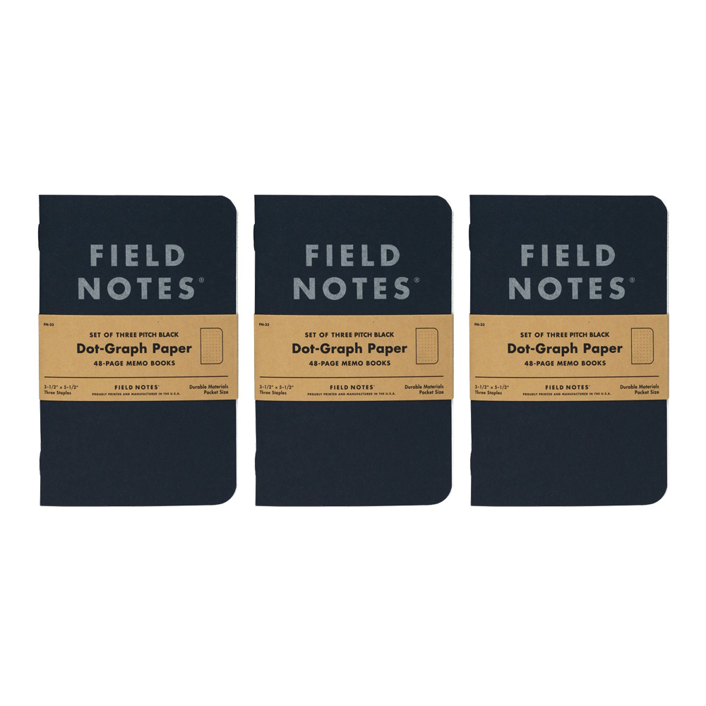 Field Notes Pitch Black Dot Graph Memo 3-Pack