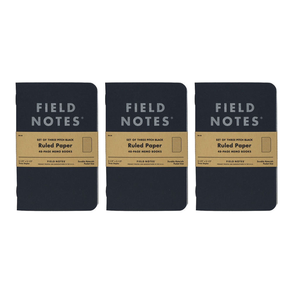 Field Notes Pitch Black Ruled Memo 3-Pack