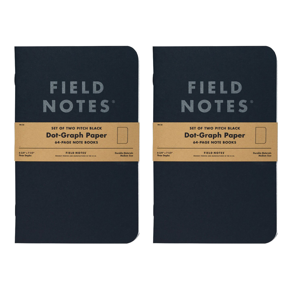 Field Notes Pitch Black Dot Graph Note Book 2
