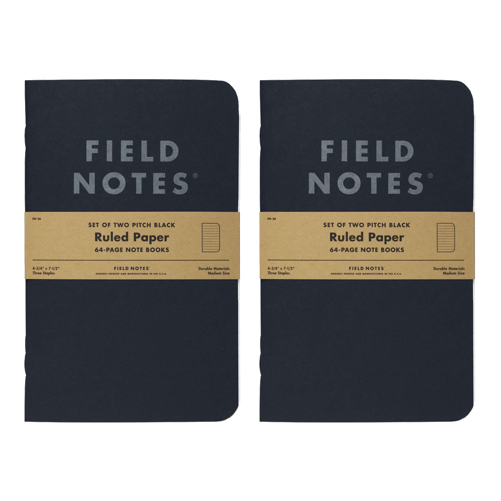 Field Notes Pitch Black Ruled Note Book 2-Pac