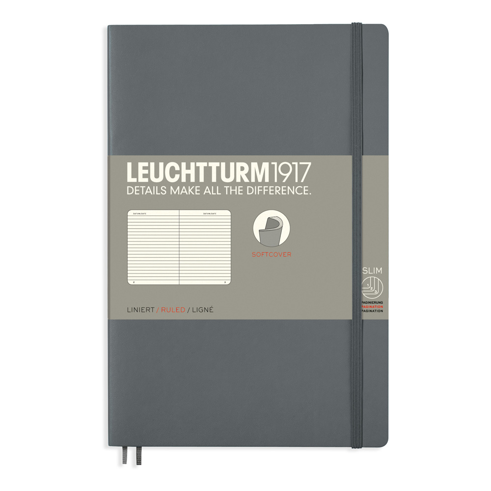 Leuchtturm Soft B6 Notebook Ruled Anthracite