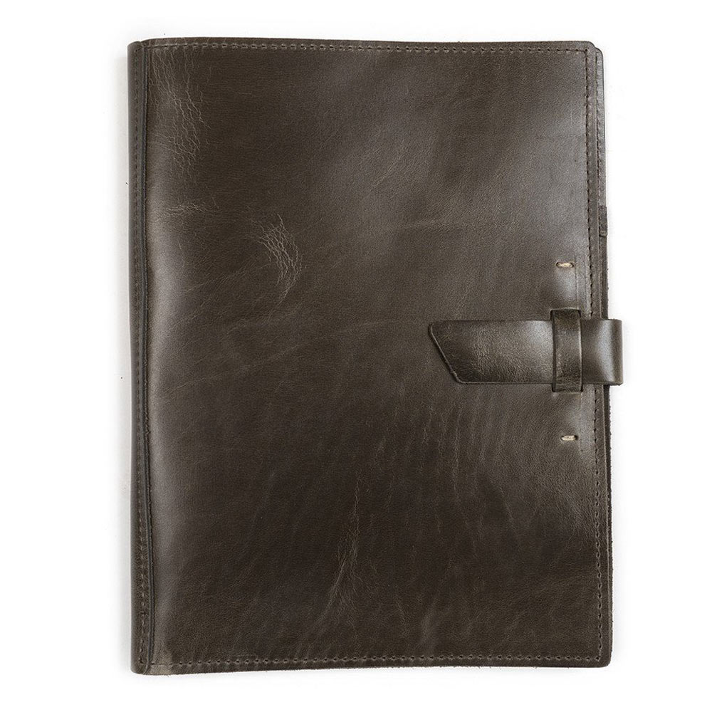Rustico Leather Lrg Pad Portfolio Charcoal