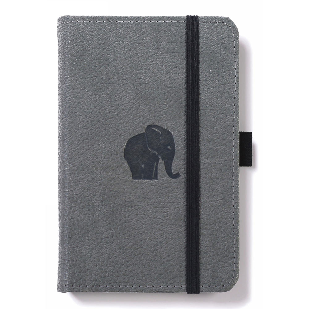 Dingbats A6 Grey Elephant Notebook Dotted