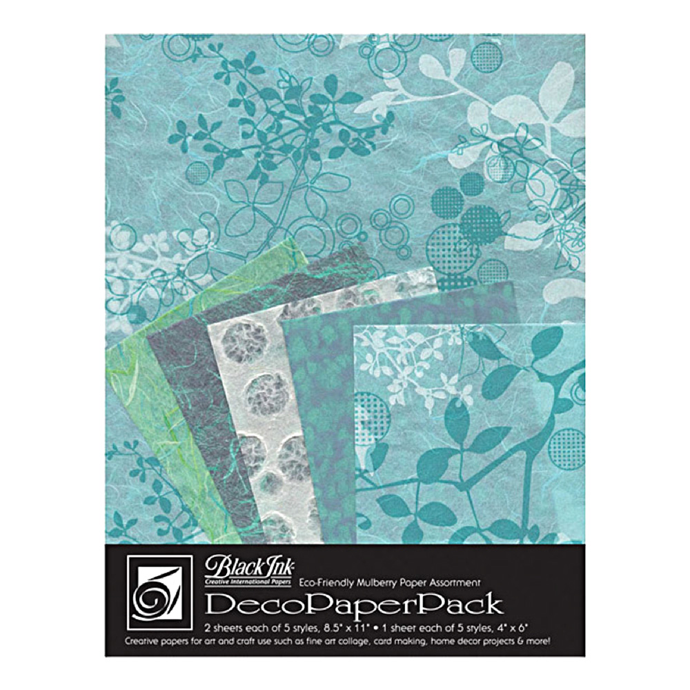 Black Ink Deco Paper Pack Aqua Chinaberry