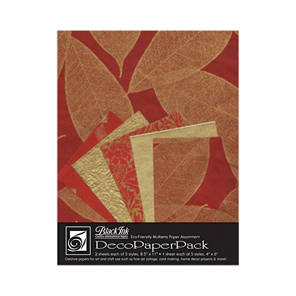 Black Ink Deco Paper Pack Golden Leaves